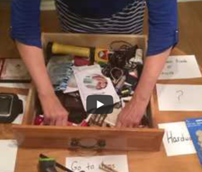 Learn simple de-cluttering and organizing principles using your junk drawer